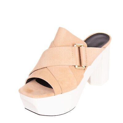 Rrp €280 Ras Rabbit Fur Clog Mule Sandals Size 38 Uk 5 Leather Heel Wooden Sole Clothing, Shoes & Accessories Women's Shoes