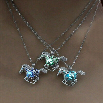 Hollow Luminous Horse Pendant Glow In Dark Chain Necklace Lady Jewelry S*