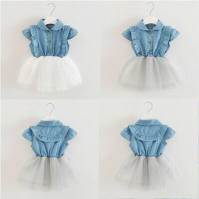 UK Toddler Infant Baby Girls Denim Tutu Tulle Princess Dresses Sundress Outfits