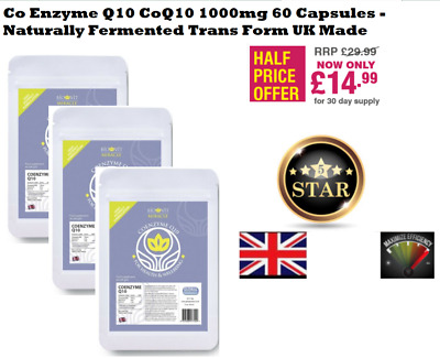 Co Enzyme Q10 CoQ10  60 Capsules - Naturally Fermented Trans Form UK Made