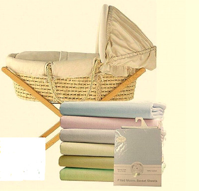 Brand new in pack Snuggle Baby 2 pack white fitted moses basket sheets 30x74 cm