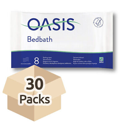 30x Oasis Bed Bath Wipes - Scented - 32cm x 22cm - Pack of 8