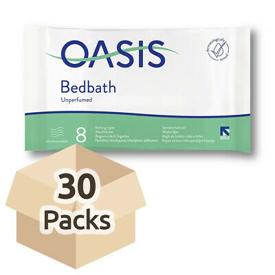 30x Oasis Bed Bath Wipes - Unscented - 33cm x 22cm - Washing Aid