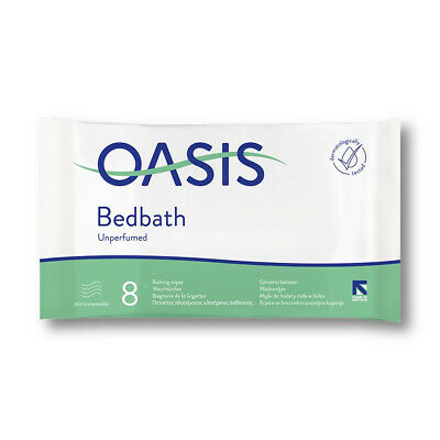Oasis Bed Bath Unscented Wipes - Pack of 8