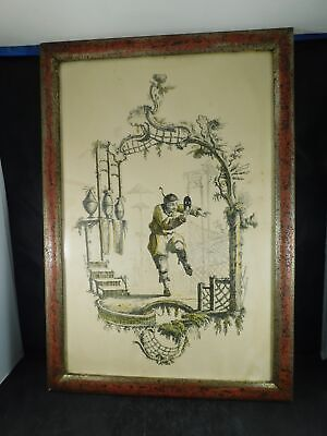 Antique Steel Engraving Asian Performer Hand Colored