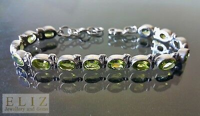925 Sterling Silver Genuine Precious Peridot Bracelet Gems 7.5 inches Adjustable