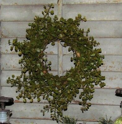 "Primitive 8"" Green Pepper Baby Grass Artificial Foliage Wreath Floral Ring AS IS"
