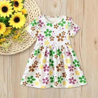 Summer Children Kids Girls Short Sleeve Dance Party Floral Print Princess Dress