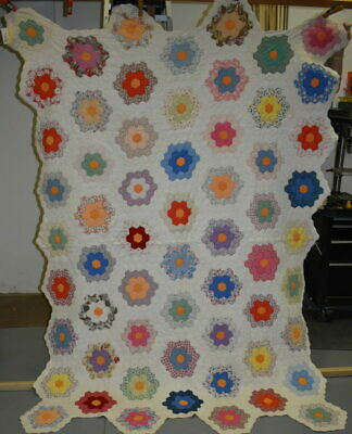 "Antique "" Grandmother's Flower Garden"" Quilt, Multi Colored Calico Prints #18508"