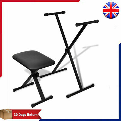 Adjustable X-frame Keyboard Stand and Stool Set Musical Instrument Seat Bench