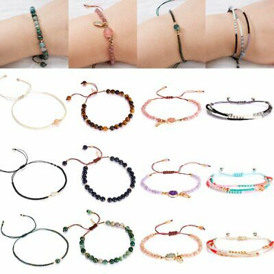 Retro Boho Natural Stone Beaded Yoga Bracelet Bangle Women Braided Handmade Gift