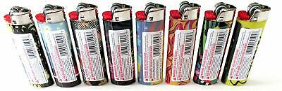 LOT OF 8 X Bic  Lighters Disposable Full Size Assorted design ( MIX )