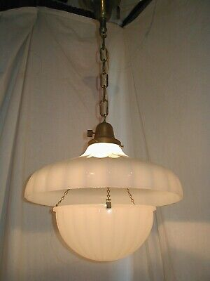 ANTIQUE 20s ART DECO JEFFERSON MOONSTONE GLASS PENDANT LIGHT FIXTURE CHANDELIER