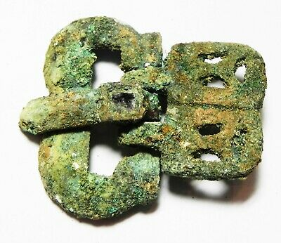 Zurqieh -As12421- Ancient Byzantine Bronze Belt Buckle With Glass Inlay. 700 A.d