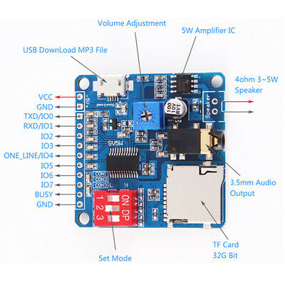 MP3 Mini Player Modle Trigger / Serial Port Control Audio Playing Board 5W