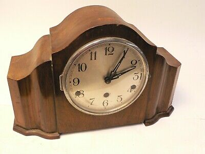 Classic Vintage Mahogany Chiming Mantel Clock, working, for case restoration