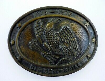 USA BI-CENTENNIAL BELT BUCKLE Vintage Brass Eagle 1776-1976