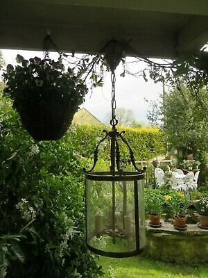 Magnificent Vintage French  Solid  Brass Porch Or Hall Lantern ~ Period Home