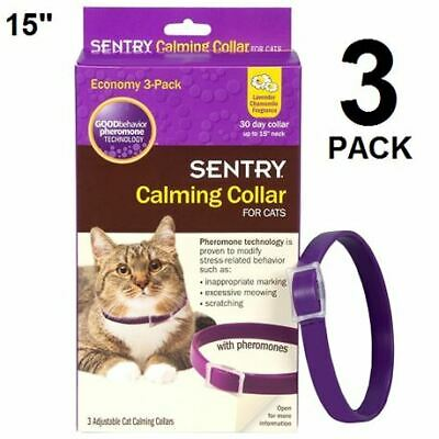 VALUE 3 PACK Sentry Calming Collar for Cats Lavender Chamomile 30 day collar NEW