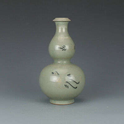 "8"" Chinese antique Porcelain Song Dynasty Celadon glaze crane gourd vase"