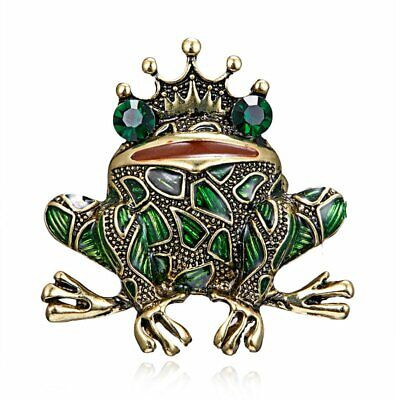 Chic Crystal Crown Frog Prince Animal Rhinestone Brooch Pin Costume Party Gift
