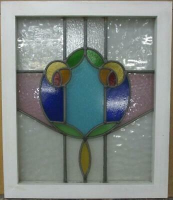"MID SIZE OLD ENGLISH LEAD STAINED GLASS WINDOW Colorful Abstract 20.75"" x 24.25"""