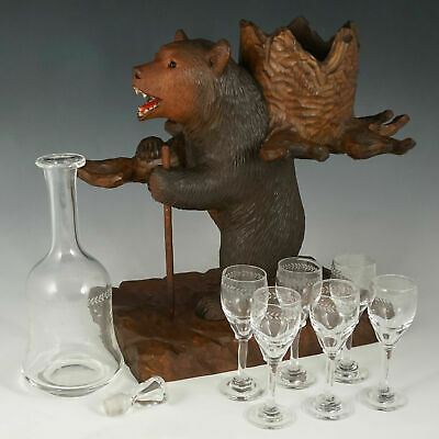 Large Black Forest Carved Wood Bear Liquor Tantalus Stand Wine Decanter Cordials