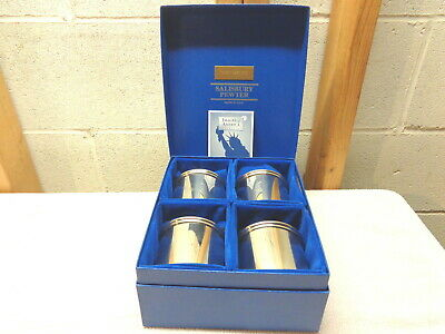 SALISBURY PEWTER Images of America Collection~Set of 4 Cups in Box~New!