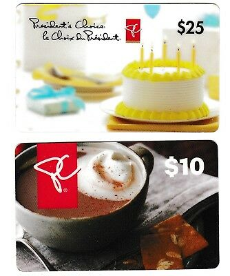 2 Collectible PRESIDENT'S CHOICE gift cards Canada coffee cake muffin pie bar
