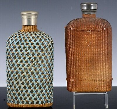 Pair Antique 19Thc Southern American Weaved Glass Silver Metal Whiskey Flasks