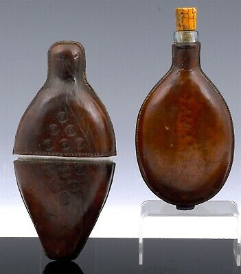 2 American Revolution To Civil War Era Tooled Leather Blown Glass Whiskey Flasks