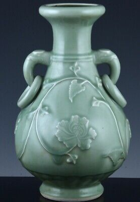 Superbly Carved Chinese Longquan Celadon Glazed Peony Elephant Handled Vase