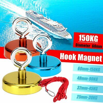 D25-60mm 150KG Pull Neodymium Magnet Fishing Strong Hunting Recovery +10M Rope