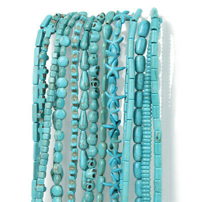 Wholesale Blue Turquoise Gemstone Spacer Loose Beads Charm Jewellery Findings f2