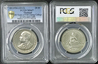 Thailand 20 Baht 100 Years Poh Chang Colledge 2013 Pcgs Ms67