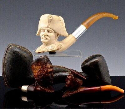 Superb Lot Antique Carved Figural Meerschaum Pipes Napoleon French Soldier Amber