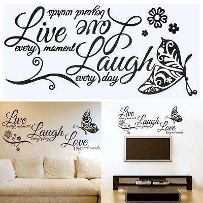 LIVE LAUGH LOVE Wall Art Quote Butterfly Sticker Vinyl Decal Home UK RUI131