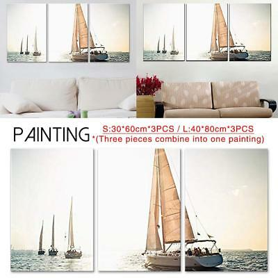 3PCS Modern Abstract Oil Painting Sailboat Frameless Decorative Painting Decor