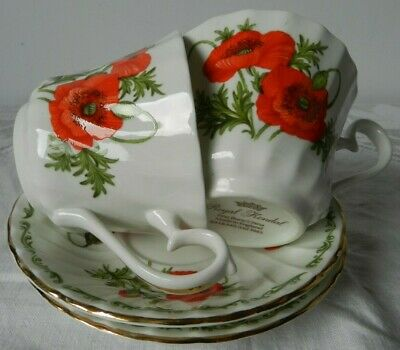 Vintage Pair Cups/Saucers 1985 Royal Kendal Fine Bone China Poppy Design August