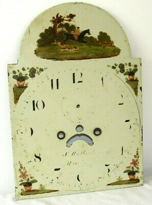 English Antique Hand Painted Arched Grandfather Clock Dial. Hunting Scene