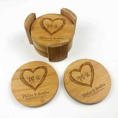 Personalised Engraved 6 Pieces round Bamboo coasters Wedding Engagement Gift