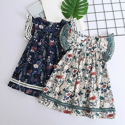 Toddler Baby Girls Sweet Cute Lace Floral Printing Casual Party Princess Dresses