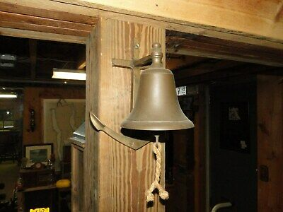 antique Brass 5 inch Ship's Bell with Anchor
