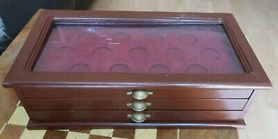 Super Three Drawer Coin Table Top Display Case Suitable 42 Crown Size Coins