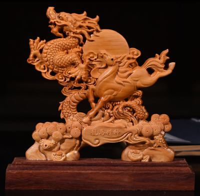 "9.2"" Art China Natural Boxwood Wood Handcarved Zodiac Dragon Horse Lucky Statue"