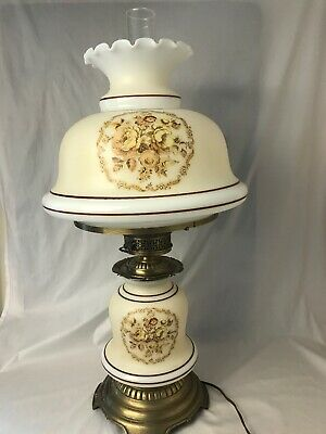 1978 Quoizel Victorian Style Gone With The Wind Table Buffet Lamp Floral 3 Way
