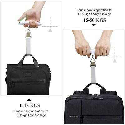 Portable Travel Tare 110lb 50kg Hanging Digital Suitcase Luggage Scale Silver