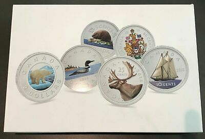 2016 Canada Big Coins Series 5 Oz Color .9999 Silver Proof 6 Coin Set-Wood Case