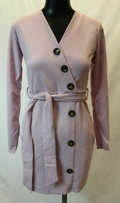 5b47e9615fc3 boohoo Womens Mock Horn Button Detail Belted Shift Dress SI4 Lilac Size  US:4 NWT