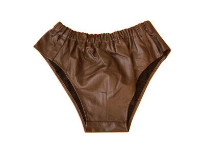 Men's Genuine Leather Brown Soft Napa Low-Cut Running Shorts Casual Gym Shorts